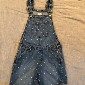 Gap girls XL Denim overall shorts